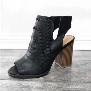 RESTOCKED SIZES cutout booties black vegan leather